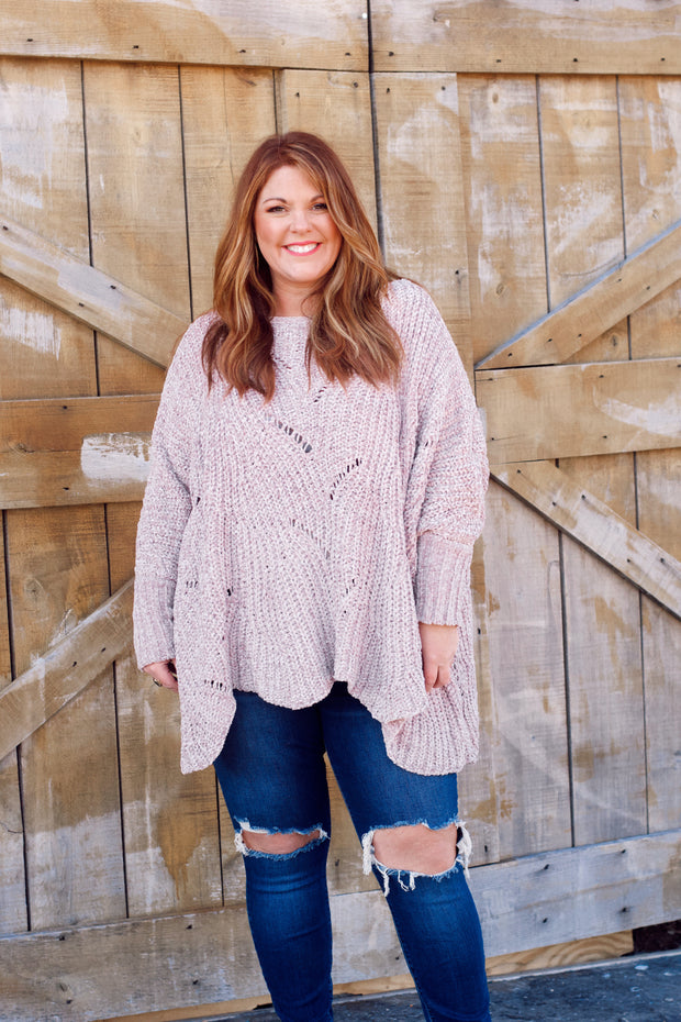 Long Sleeve Chenille Pullover W/ Scalloped Hem