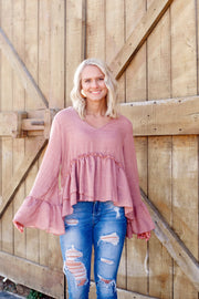 Solid V Neck Long Sleeve Knit top
