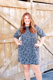 Vintage Wash Leopard T-Shirt Dress PLUS