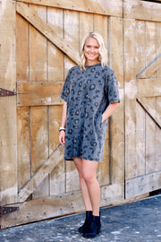 Vintage Washed Leopard T-shirt Dress