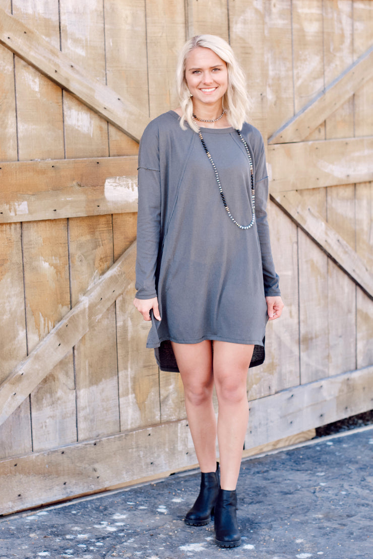 Long Sleeve Round Neck Raw Edge Detail Dress
