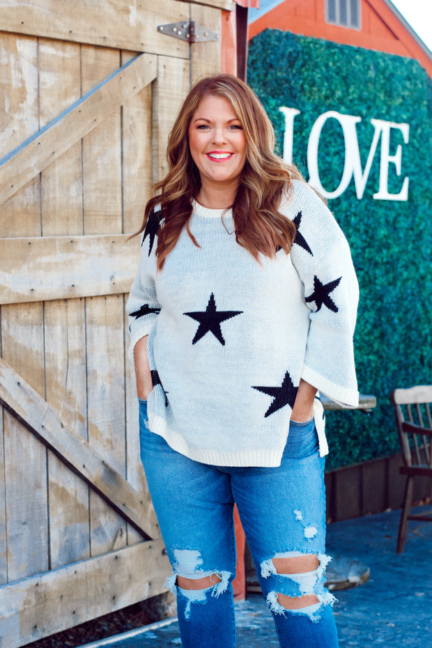 Star Pattern 3/4 Wide Sleeve Knit Sweater