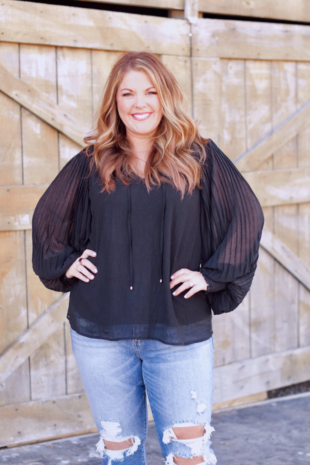 Long Sleeve Blouse W/ Pleated Balloon Sleeves PLUS