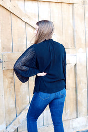 Long Sleeve Blouse W/ Pleated Balloon Sleeves