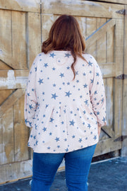 Long Sleeve Star Print Babydoll Top PLUS
