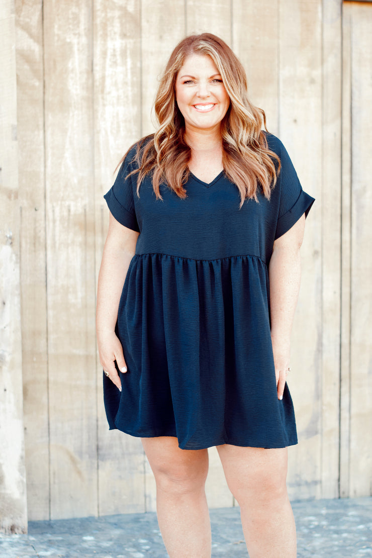 Short Sleeve Babydoll Dress PLUS