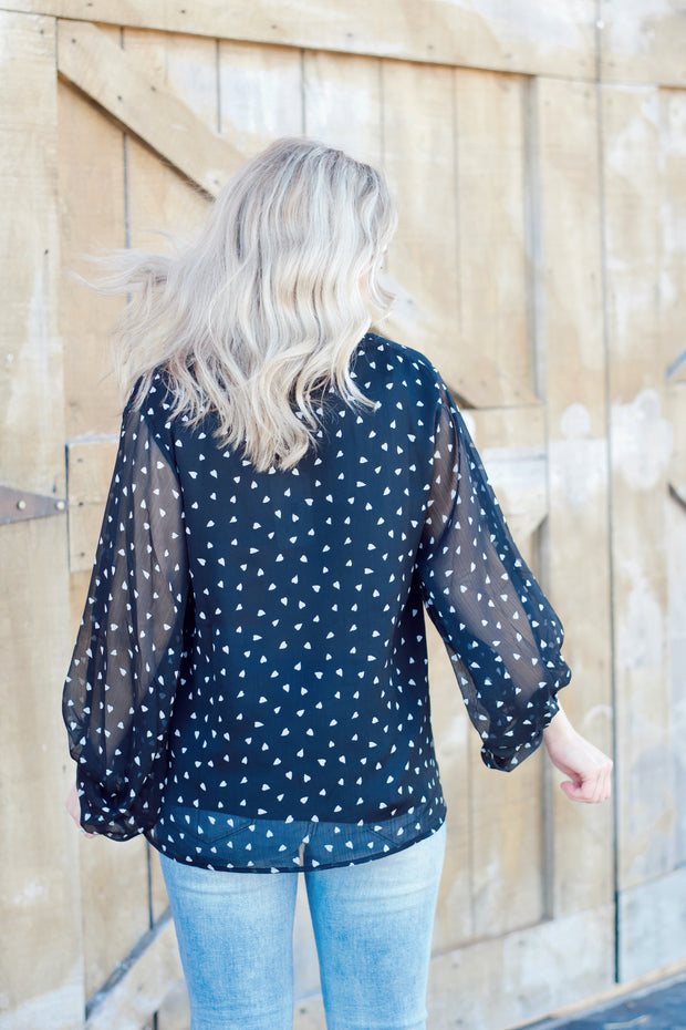 Long Sleeve V Neck Heart Printed Blouse