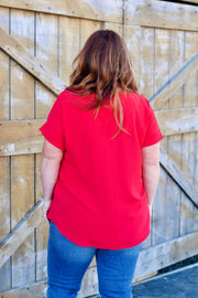 Short Sleeve Cuffed Blouse PLUS
