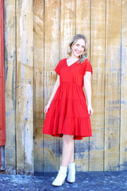 Short Sleeve Babydoll Tiered Dress