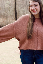 Oversized Cropped Reverse Seam Sweater