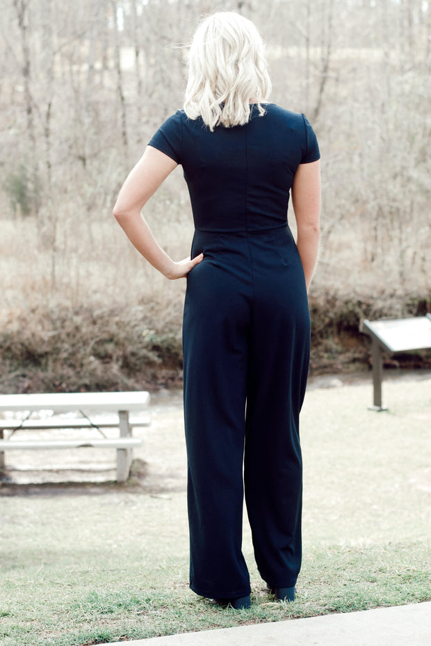 Short Sleeve Square Neck Jumpsuit