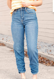 High Rise Mom Jeans With Gathered Ankle