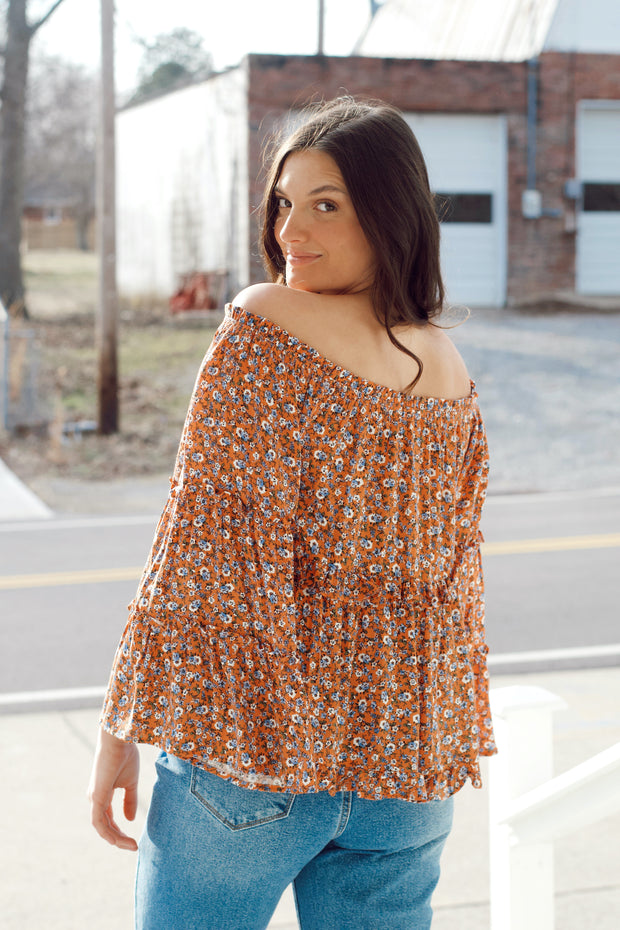 Bell Sleeve Floral Printed Top
