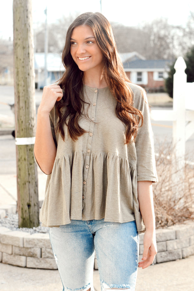 Half Sleeve Ruffled Button Top