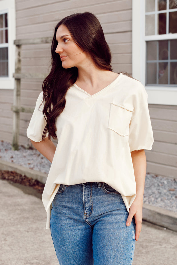 Short Sleeve V-Neck Terry Knit Top