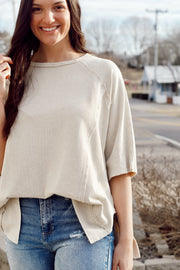 Short Sleeve Round Neck Terry Knit Top