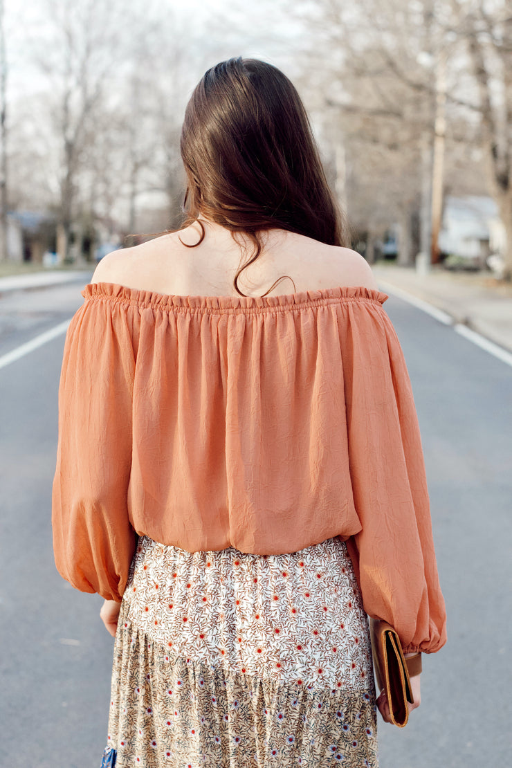 Off the Shoulder Long Sleeve Cropped Top