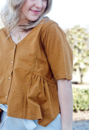 Lace Trim V-Neck Button Down Top