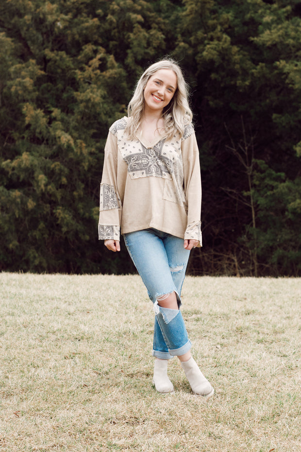 Long Sleeve Boho Bandana Print Top