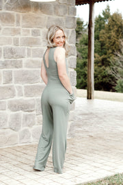 Halter Neck Jumpsuit with Keyhole