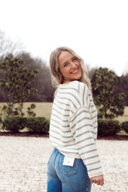 Long Sleeve Knit Sweater Striped Oversized Top
