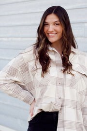 Long Sleeve Boxy Checkered Woven Top