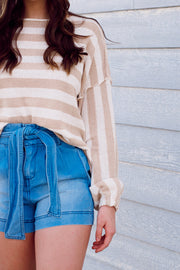 Long Sleeve Knit Oversized Striped Sweater