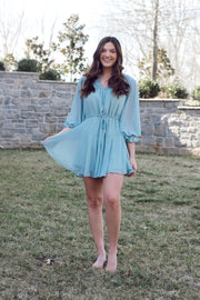 Long Sleeve V Neck Ruffled Dress