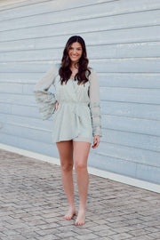 Ruffled Long Sleeve Metallic Romper
