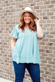 Short Puff Sleeve Distressed Hem Knit Top PLUS