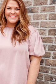 Solid Puff Sleeve Top W/ Back Keyhole PLUS