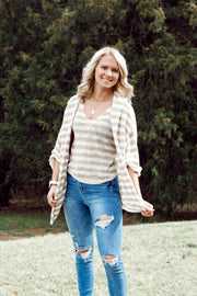 Knit Quarter-Sleeved Striped Cardigan