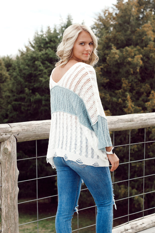 Lightweight Color block Sweater Top