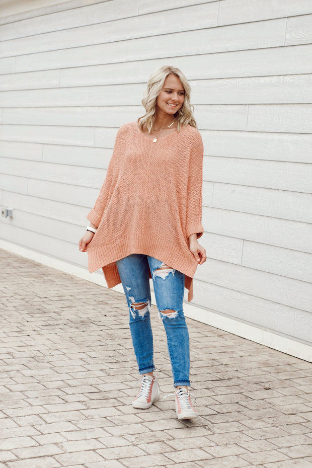 High Low Knit Sweater with 3/4 Sleeves