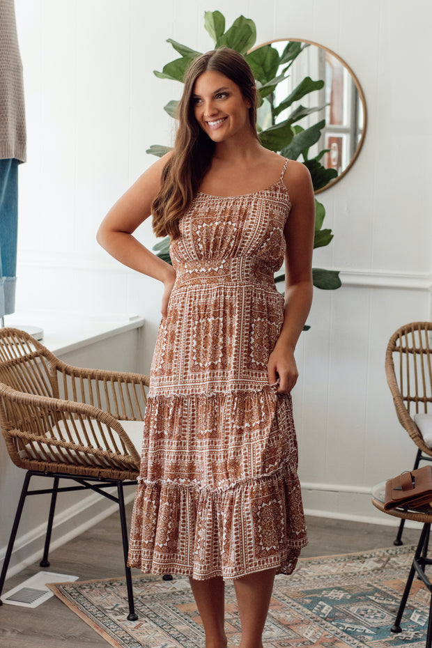 Brown Paisley Midi Dress