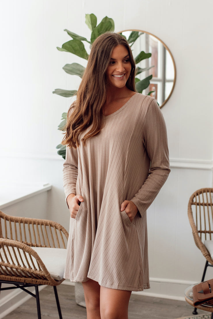 V-Neck Long Sleeve Dress w/Lined Details & Pockets