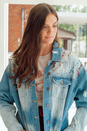 Multi Colored Embroidered Denim Jacket