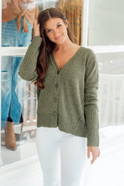 Green Multi Colored Popcorn Button Down Sweater