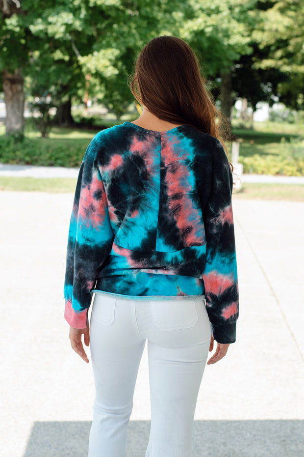 Tie Dye Long Sleeve Wrap Top