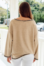 Long Sleeve Cheetah Reverse Sweater