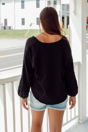 Wide Neck Top w/ Raw Edge, Contrast Fabric & Puff Sleeve