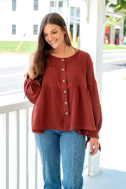 Burgundy Button Down Top