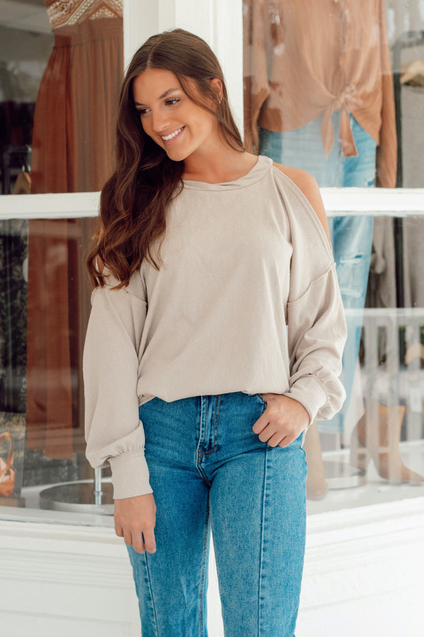 Long Puff Sleeve Open Shoulder Top w/Scoop Hem