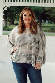 Camouflage Oversized Light Knit Sweater