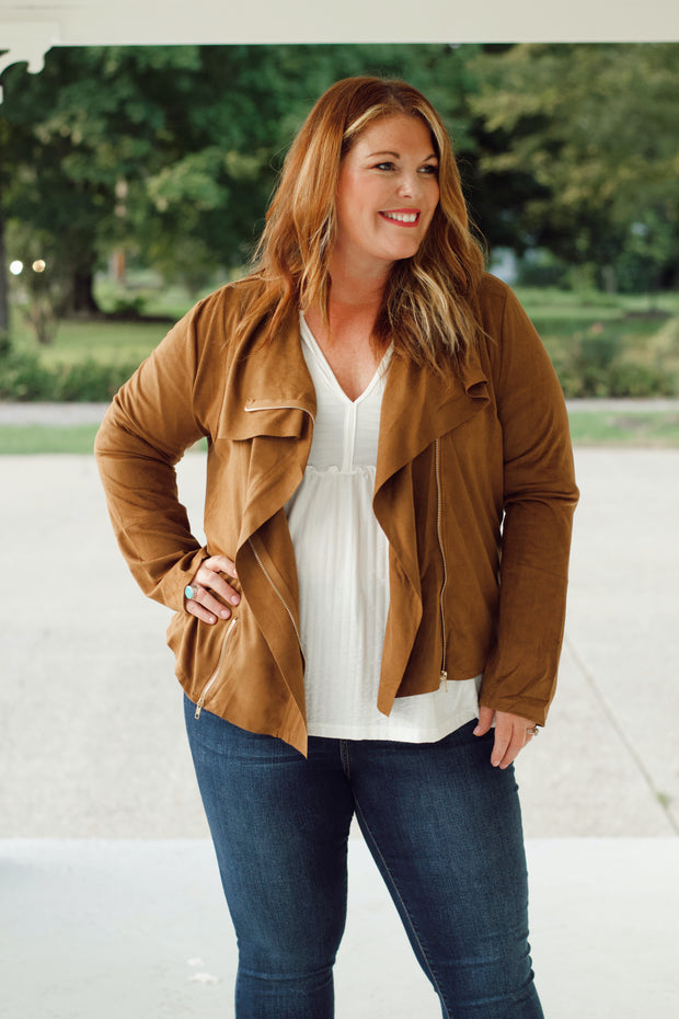 Suede Zip-Up Moto Jacket