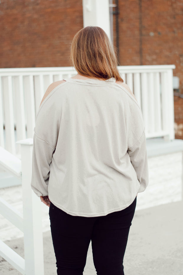 Long Sleeve Open Shoulder Round Neck Top