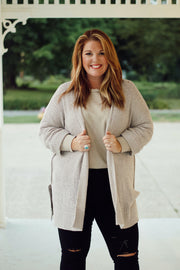 Light Mocha Sweater Cardigan PLUS