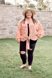 Print Bell Sleeve Open Front Frayed Edged Detail Kimono PLUS