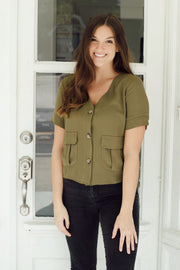 Olive Button Up V-Neck Top