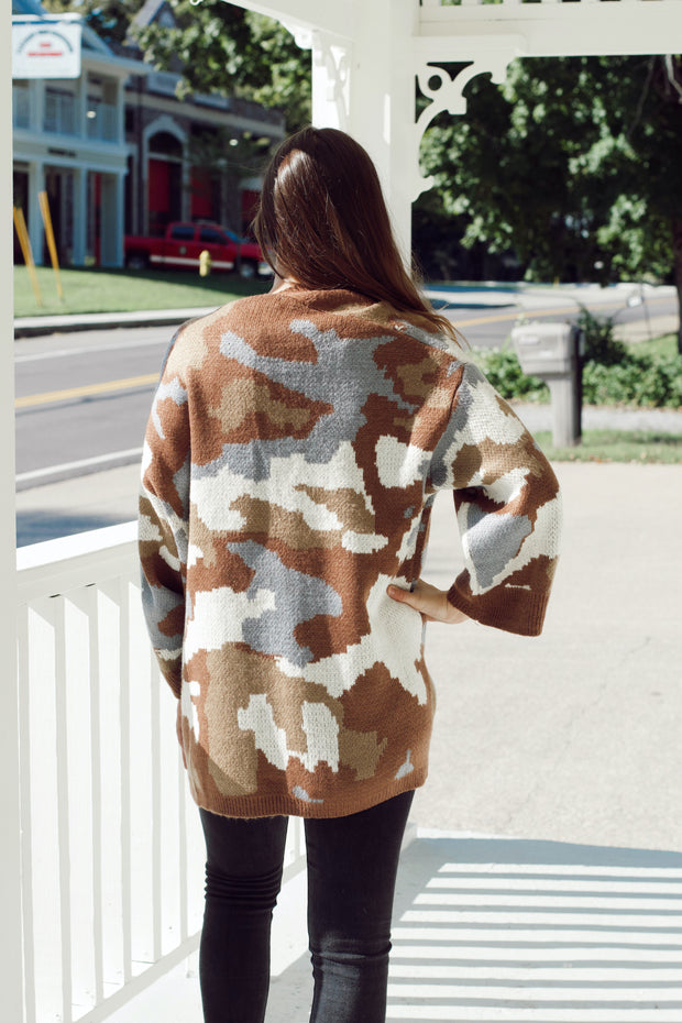 Coffee Camo Oversized Cardigan